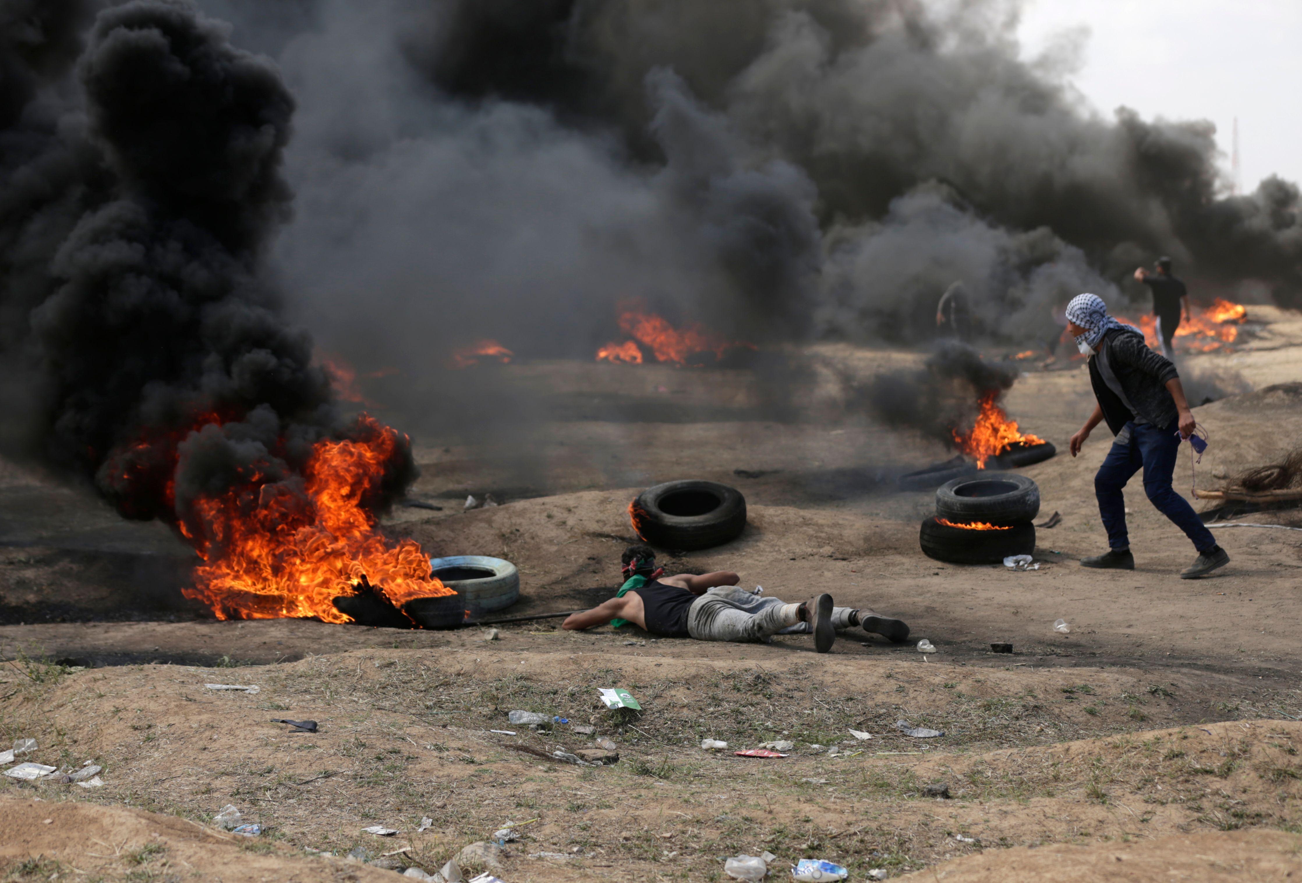 مواجهات بين الفلسطينيين والاحتلال فى غزة
