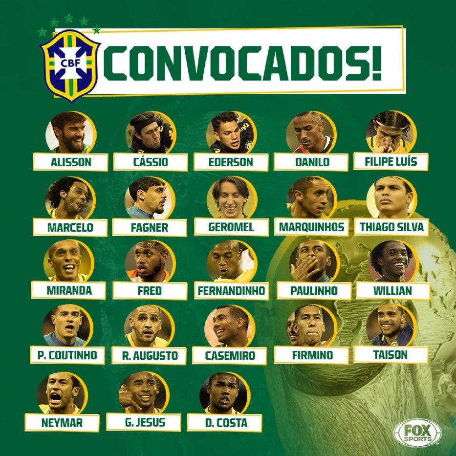 نيمار يتصدر قائمة البرازيل النهائية لكأس العالم 2018 اليوم