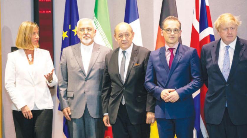 وزراء خارجية بريطانيا وألمانيا وفرنسا وإيران مع موغيريني بعد الاجتماع