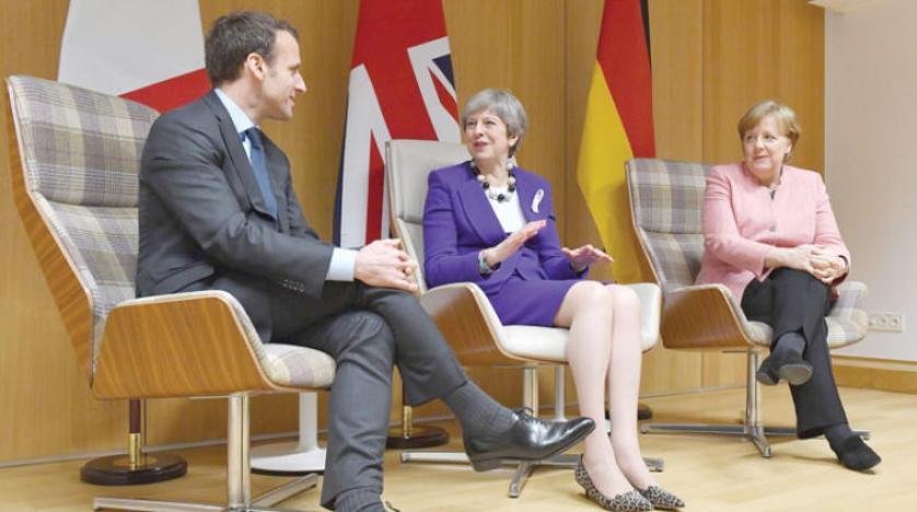 ميركل وماي وماكرون خلال لقاء في بروكسل مارس 2018