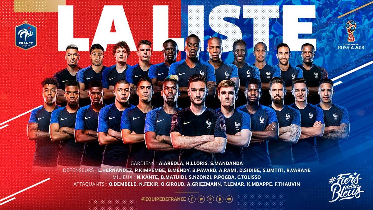 قائمة فرنسا فى مونديال روسيا 2018