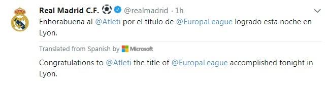تهنئة ريال مدريد لأتلتيكو مدريد