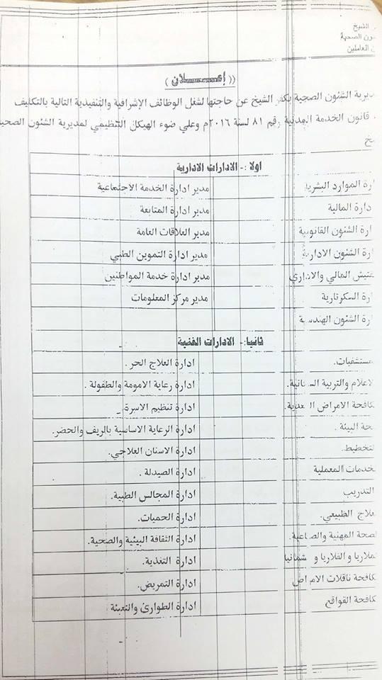 5- الوظائف الاشرافية بمديرية الصحة