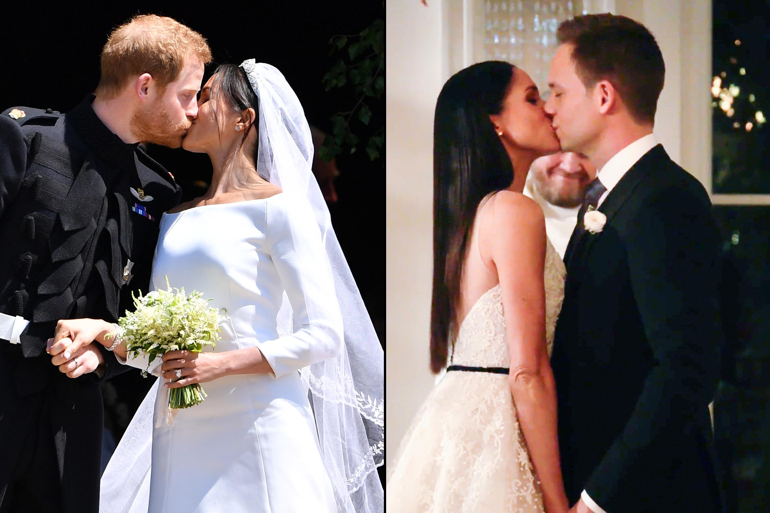 """شاهد.. مقارنة حفل زفاف الأمير هارى وميجان ماركل مع مسلسلها """"Suits""""  387806-first-kiss"""