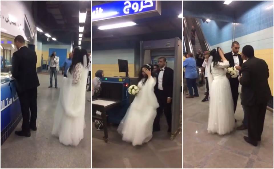 عروسان يحتفلان بزفافهما فى مترو أرض المعارض