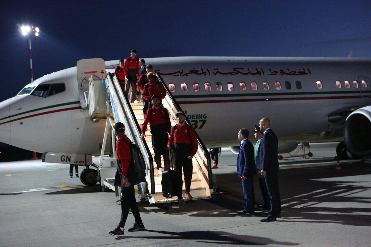 لاعبو منتخب المغرب فور وصولهم إلى روسيا