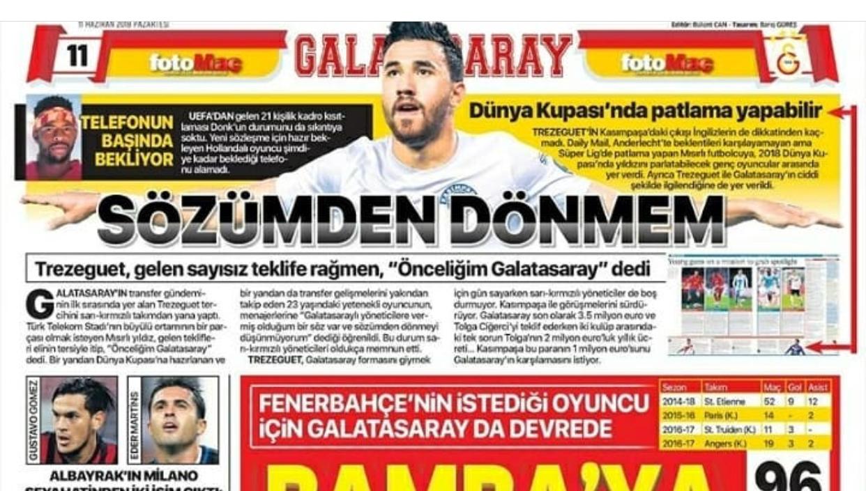 تريزيجيه يتصدر عناوين الصحافة التركية
