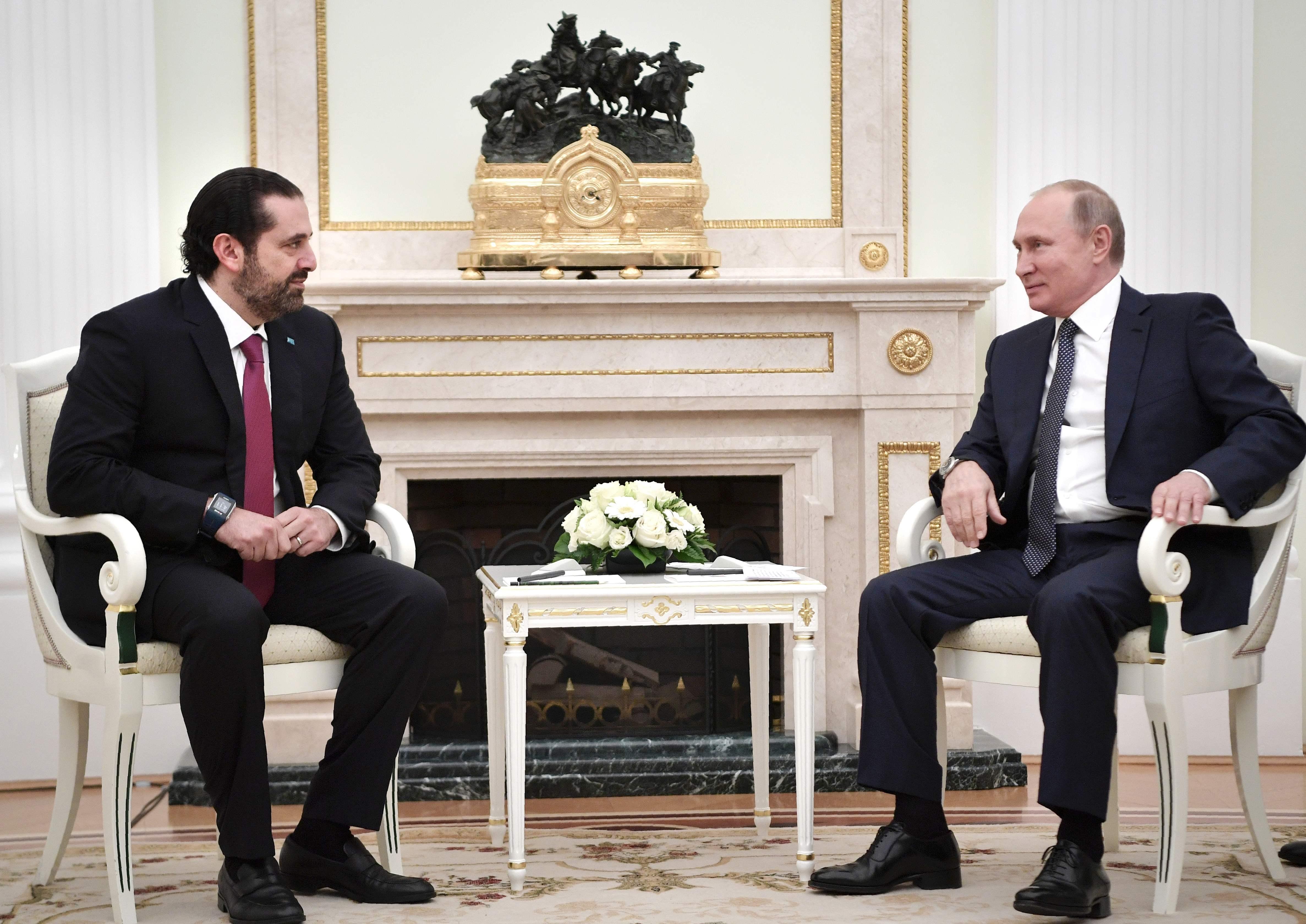 بوتين يلتقى الحريرى بالكريملن