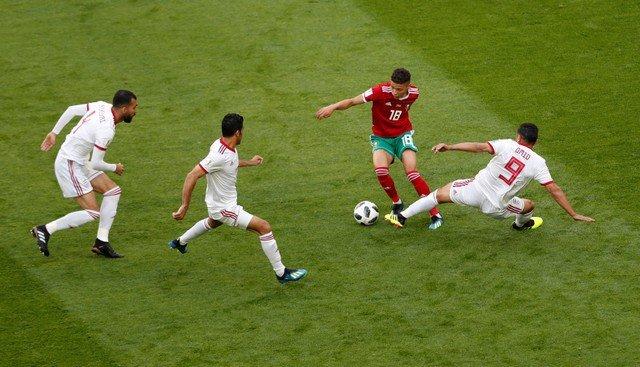 جانب من مباراة المغرب وإيران