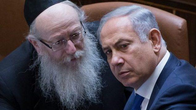 نتنياهو، من اليمين، يتحدث مع وزير الصحة السابق يعقوب ليتسمان رئيس حزب 'يهدوت هتوراه