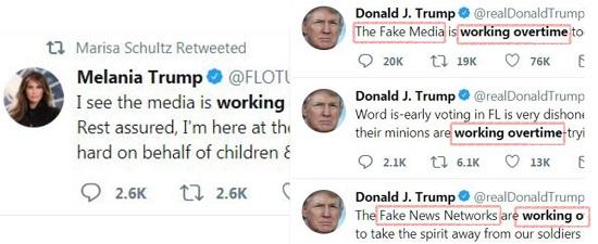 مغردون يربطون بين تغريدة ميلانيا وكلمات ترامب