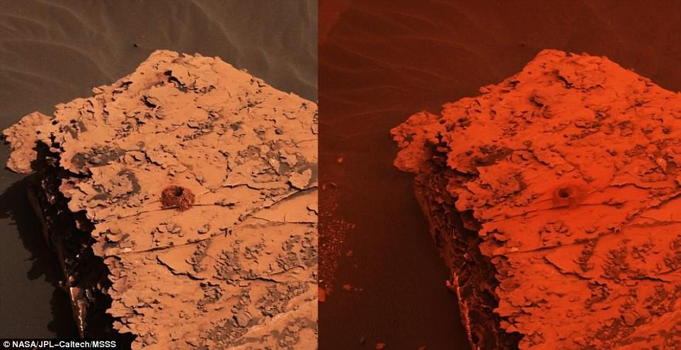المريخ قبل وبعد العاصفة