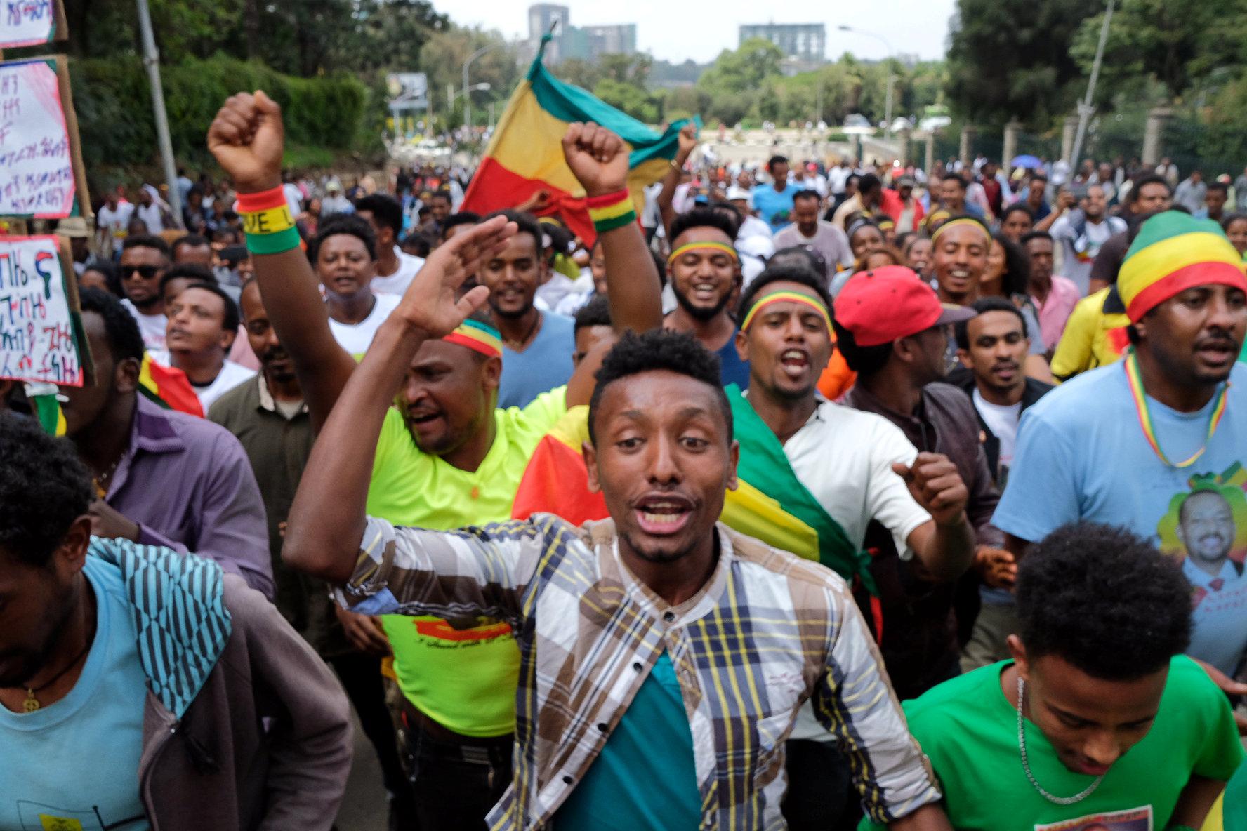 جانب من مسيرة دعم رئيس الوزراء الإثيوبى