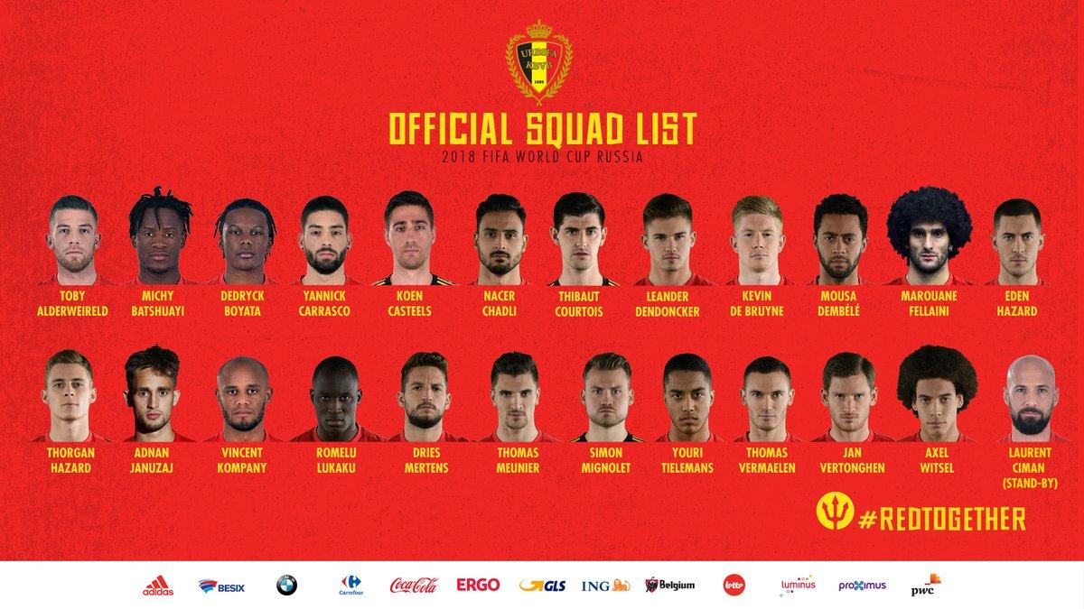 كأس العالم 2018 قائمة بلجيكا النهائية خالية من المفاجآت