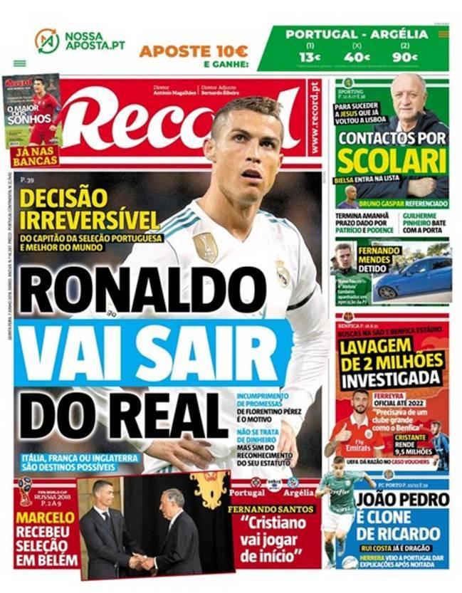 غلاف صحيفة ريكورد البرتغالية