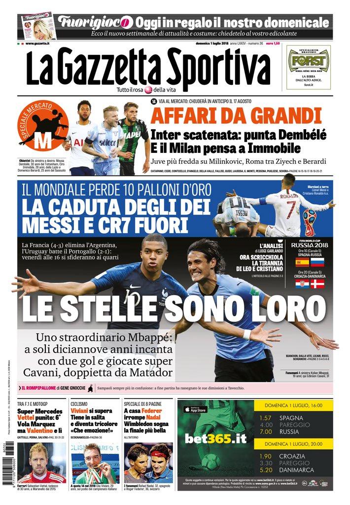 غلاف صحيفة لاجازيتا ديللو سبورت الايطالية