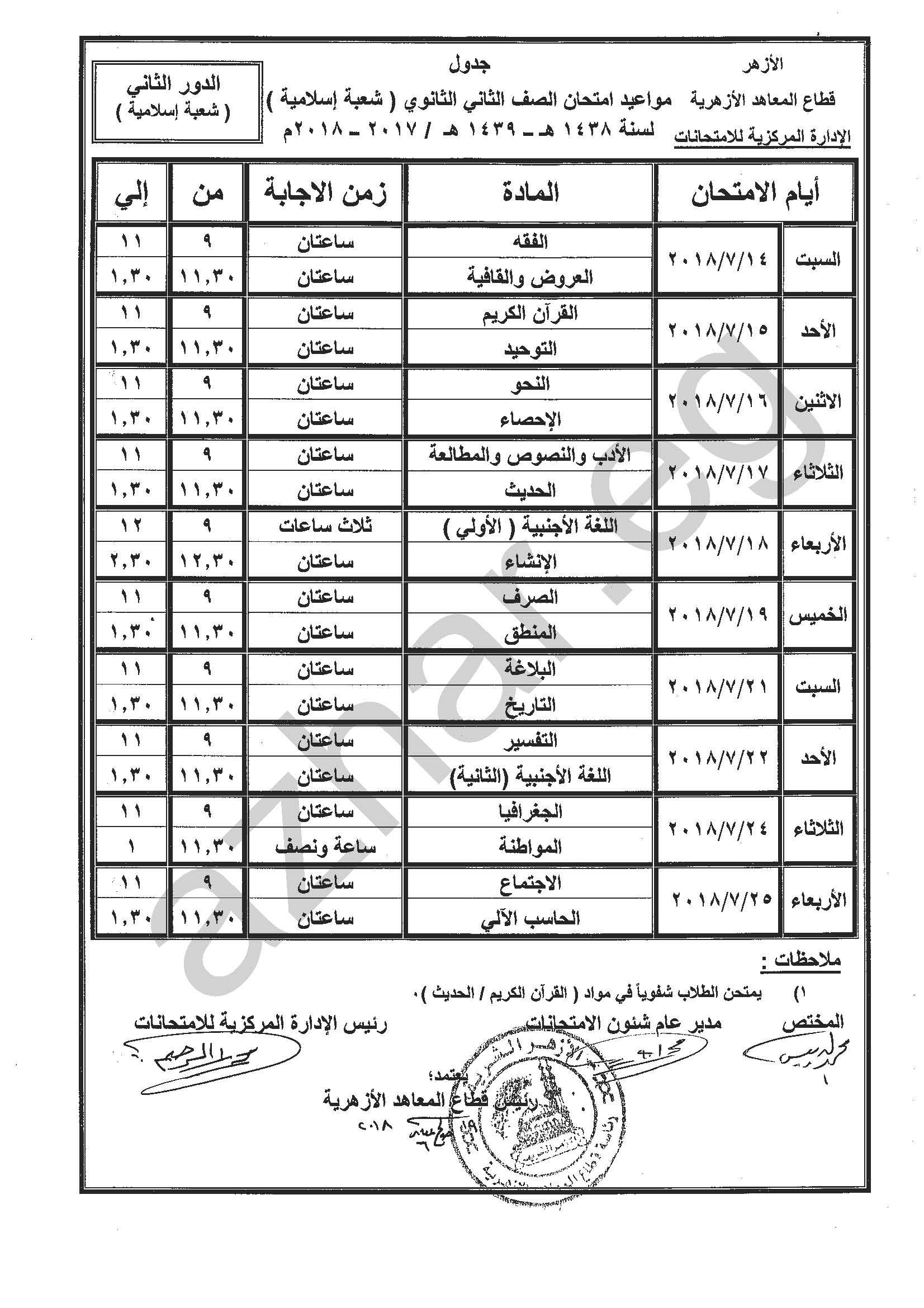 الصف الثاني الثانوي -شعبة إسلامية