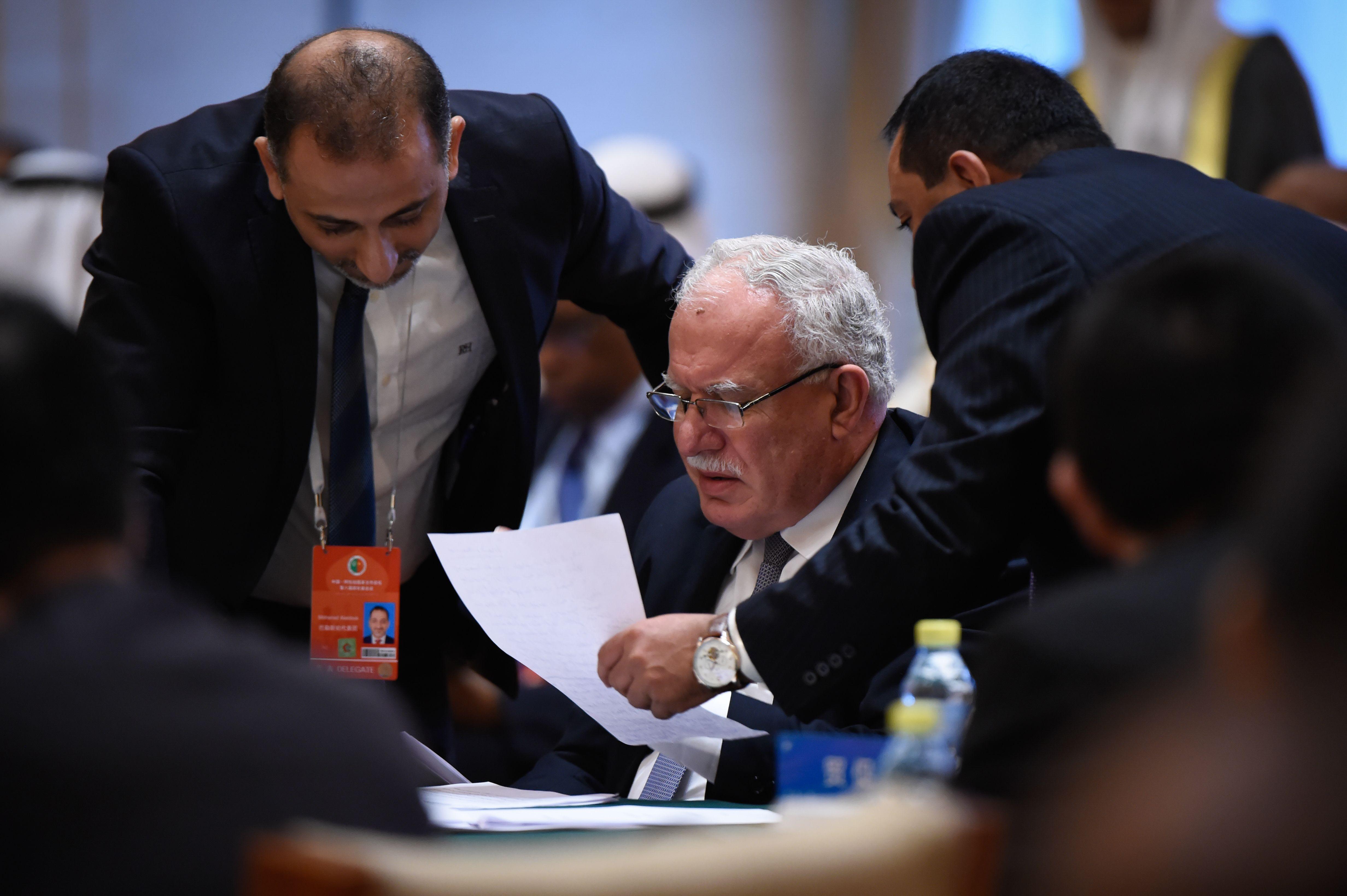 وزير الخارجية الفلسطينى خلال المنتدى الصينى العربى