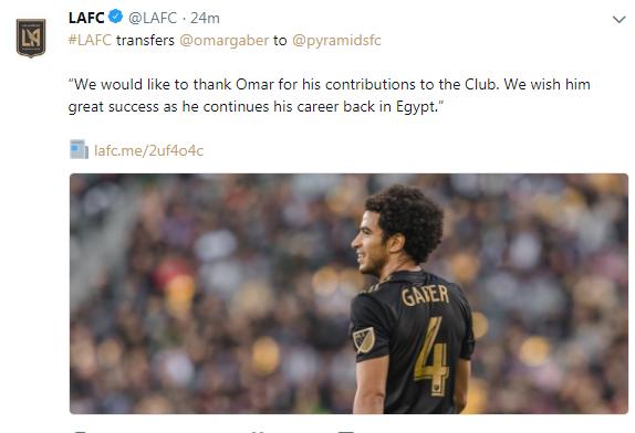 لوس أنجلوس يعلن انتقال عمر جابر إلى بيراميدز