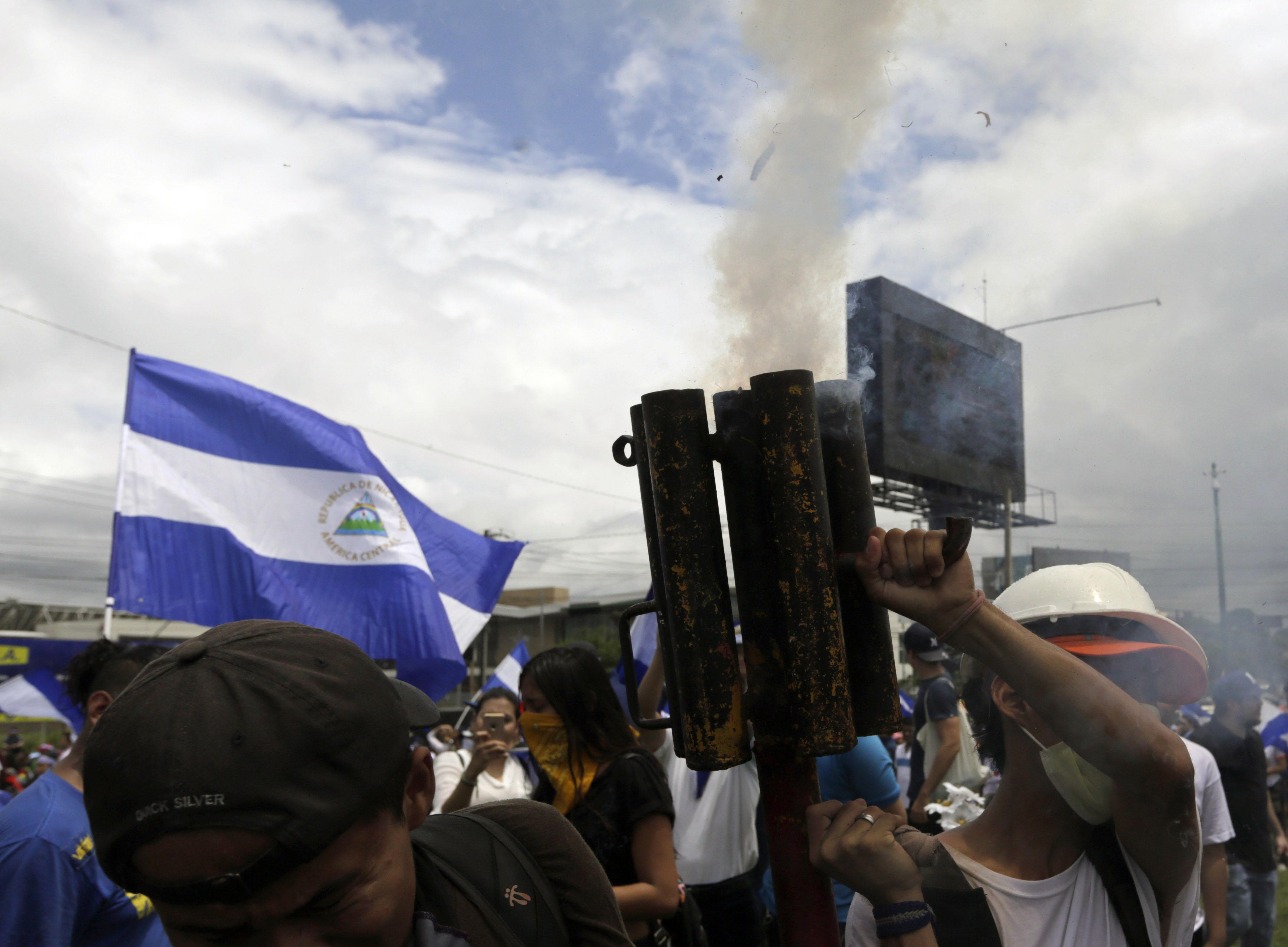 جانب من المظاهرات العنيفة فى نيكاراجوا
