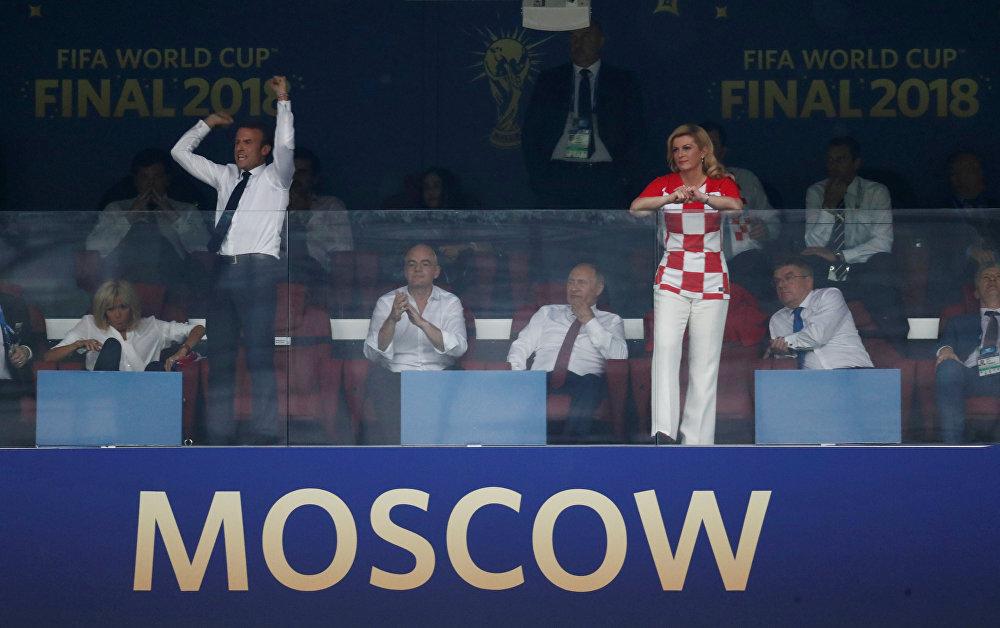 جانب من تشجيع رئيسة كرواتيا