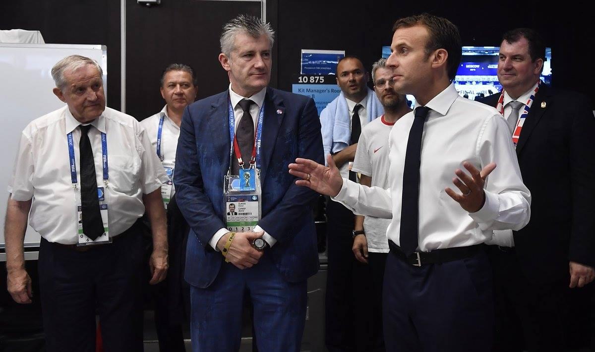 ماكرون مع سوكر رئيس الاتحاد الكرواتى