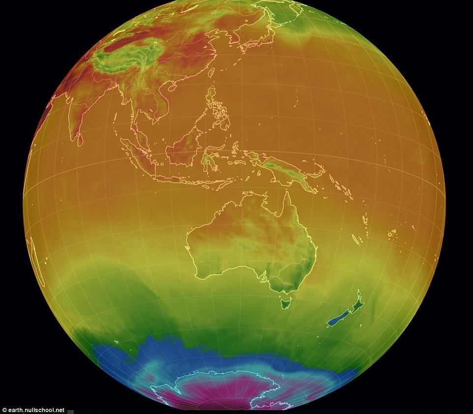 خريطة لدرجة الحرارة