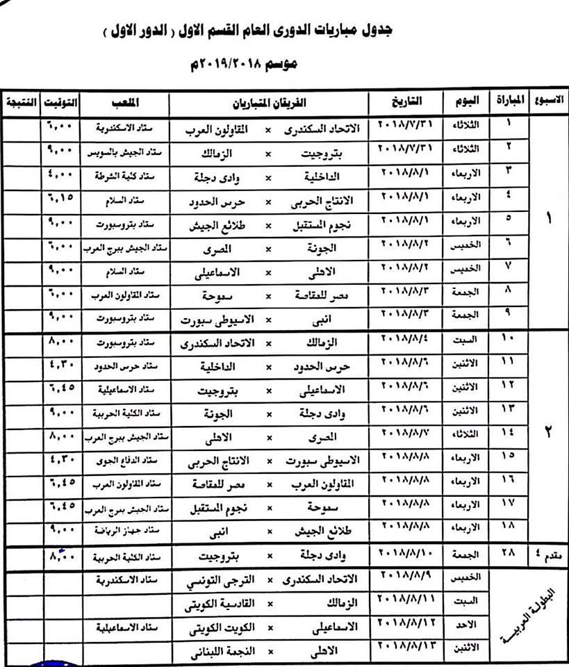 تعديلات فى أول 16 جولة بالدورى بسبب البطولة العربية والسوبر