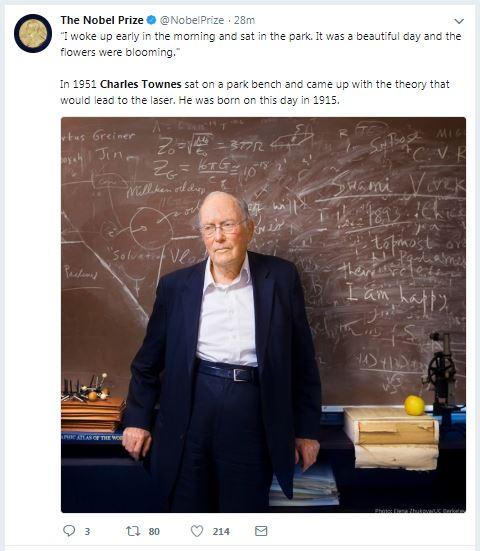 جائزة نوبل تحتفى بذكرى ميلاد تشارلز تاونز