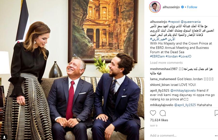 الملك وولى العهد والملكة رانيا