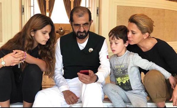 محمد بن راشد مع الأميرة هيا بنت الحسين