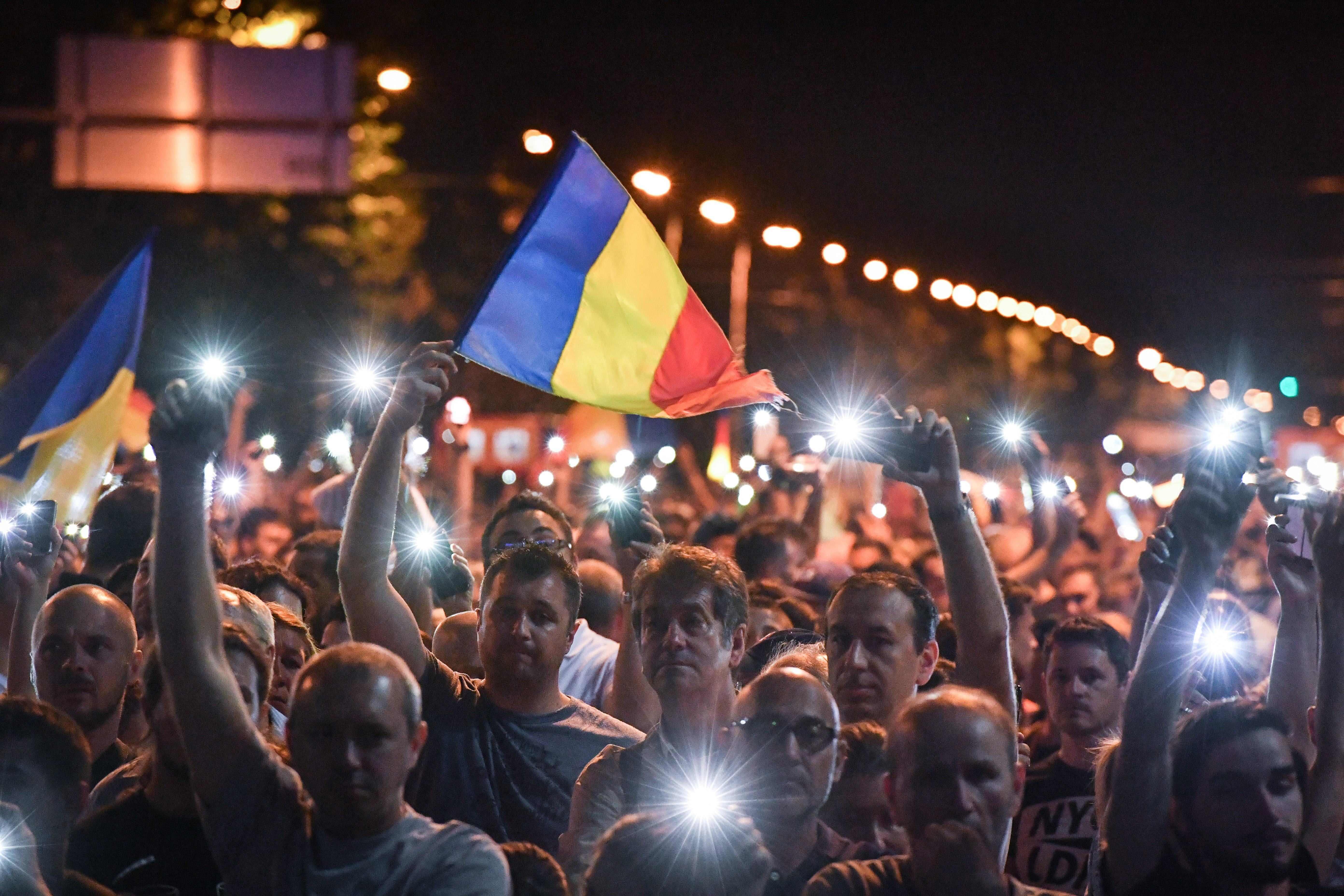 جانب من احتجاجات رومانيا