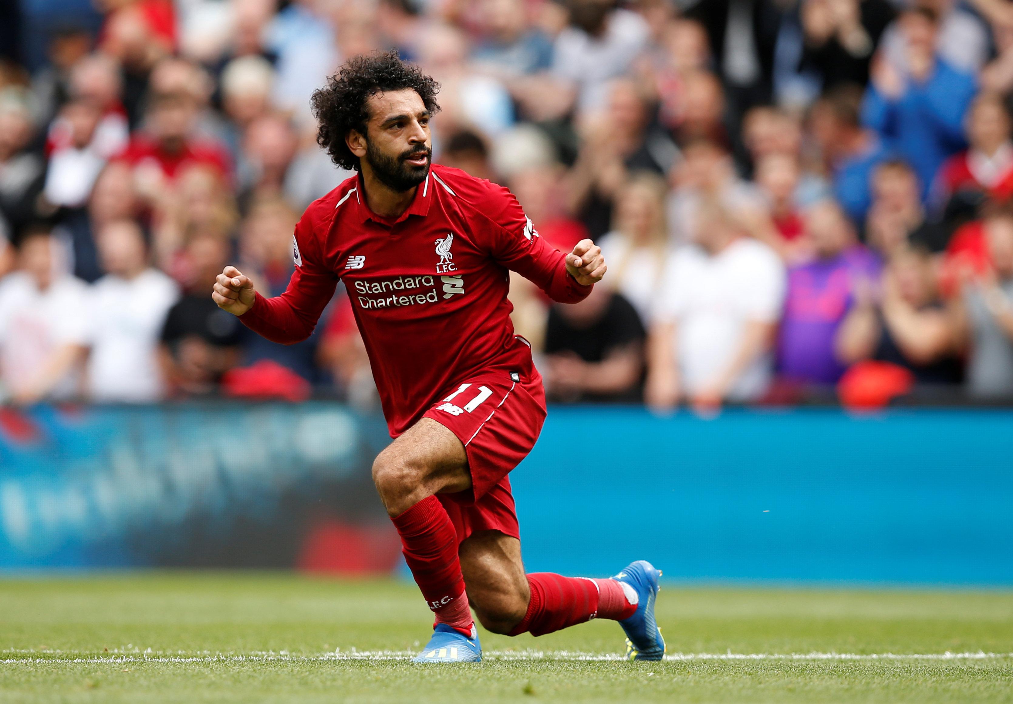 محمد صلاح لاعب ليفربول في مباراة وست هام