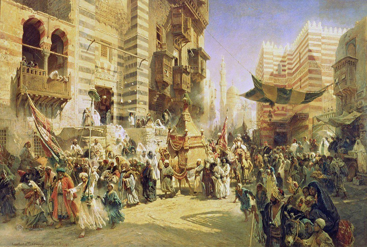 زفة المحمل  القاهرة 1876م لوحة للرسام الروسي كونستانتين ماكوفسكي