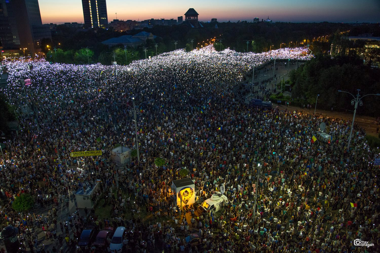 جانب من المظاهرات الرومانية