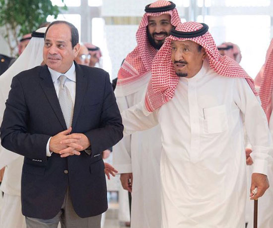 السيسي خلال استقباله من الملك سلمان (2)