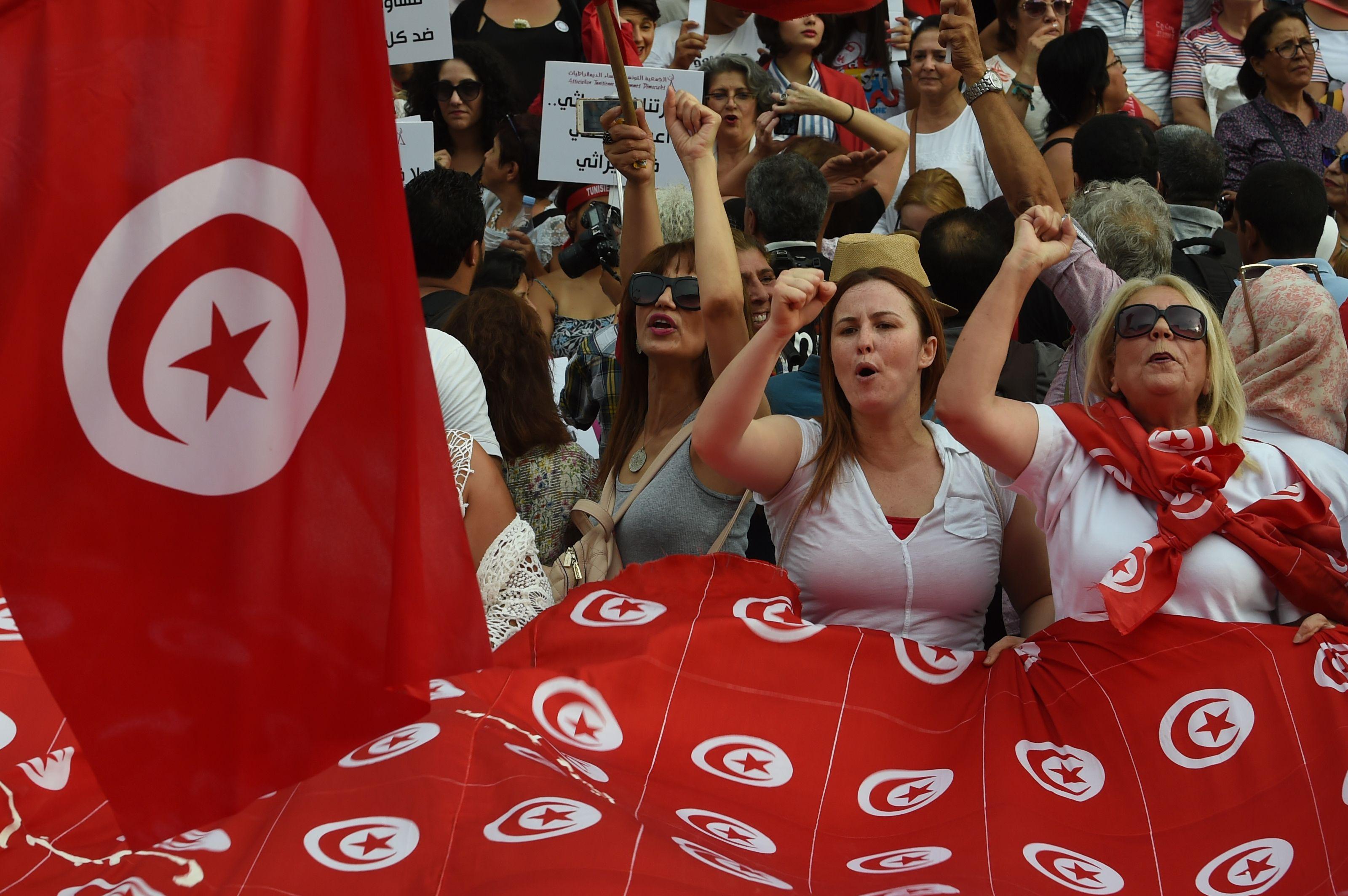 جانب من مظاهرات نساء تونس