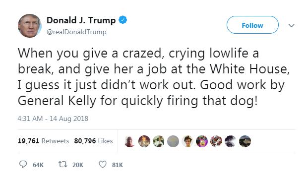 تغريدة ترامب المسيئة لمساعدته السابقة