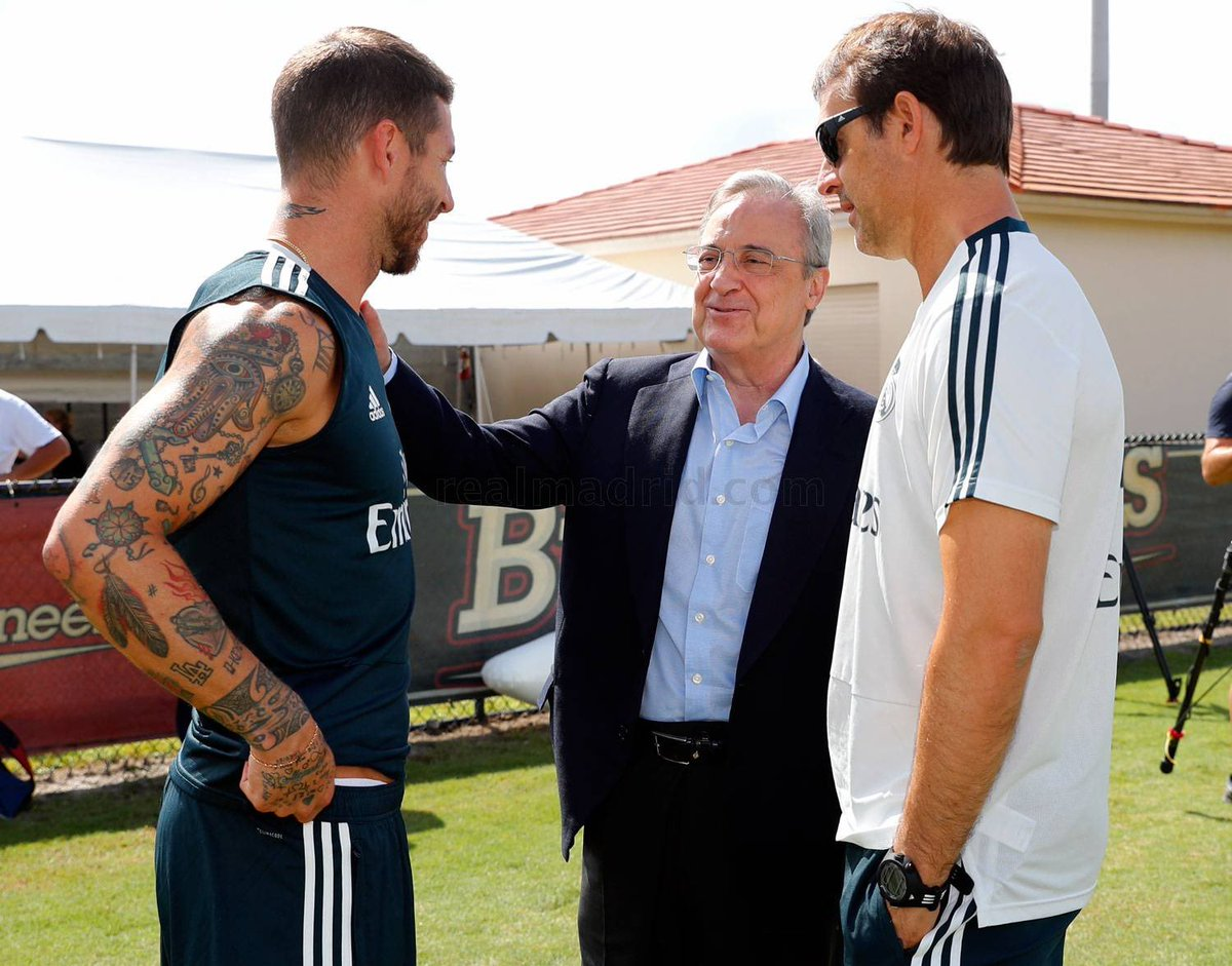 رئيس ريال مدريد فى حوار خاص مع راموس ومدرب الملكى