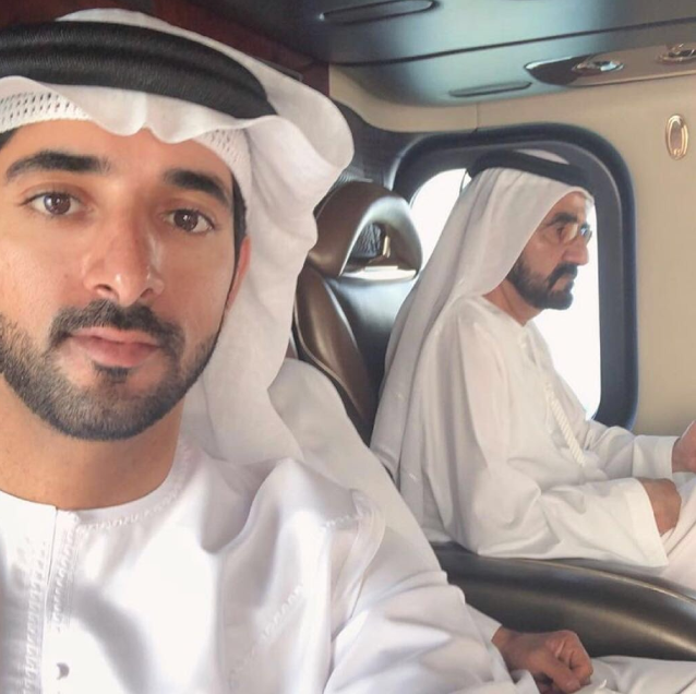 Hamdan with his father Mohammed bin Rashid Al Maktoum