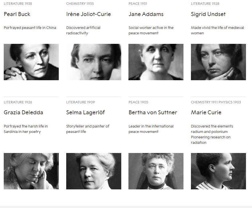 نساء حصلن على جائزة نوبل منذ تأسيسها (1)