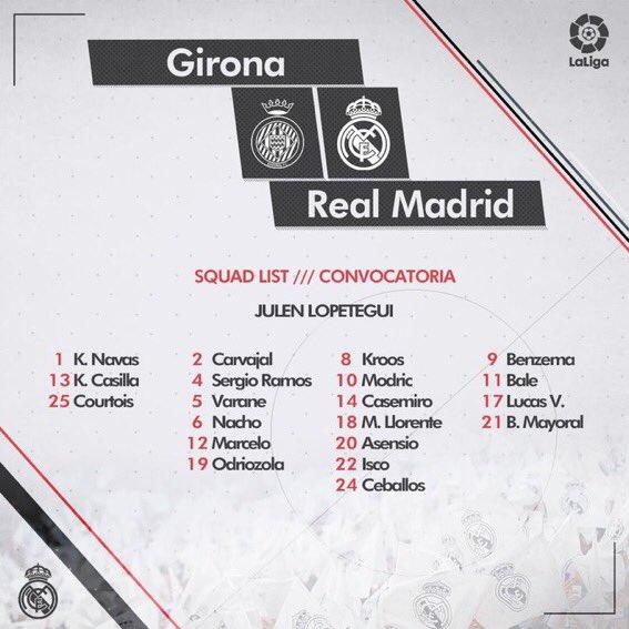 قائمة ريال مدريد لمباراة جيرونا