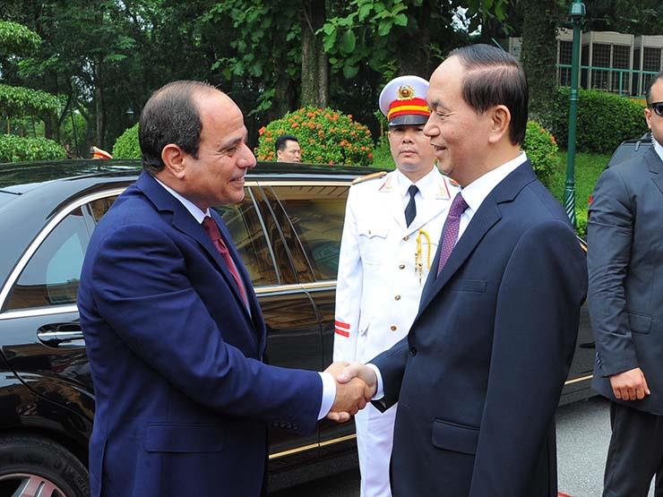 الرئيس عبد الفتاح السيسى مع نظيره الفيتنامى فى هانوى