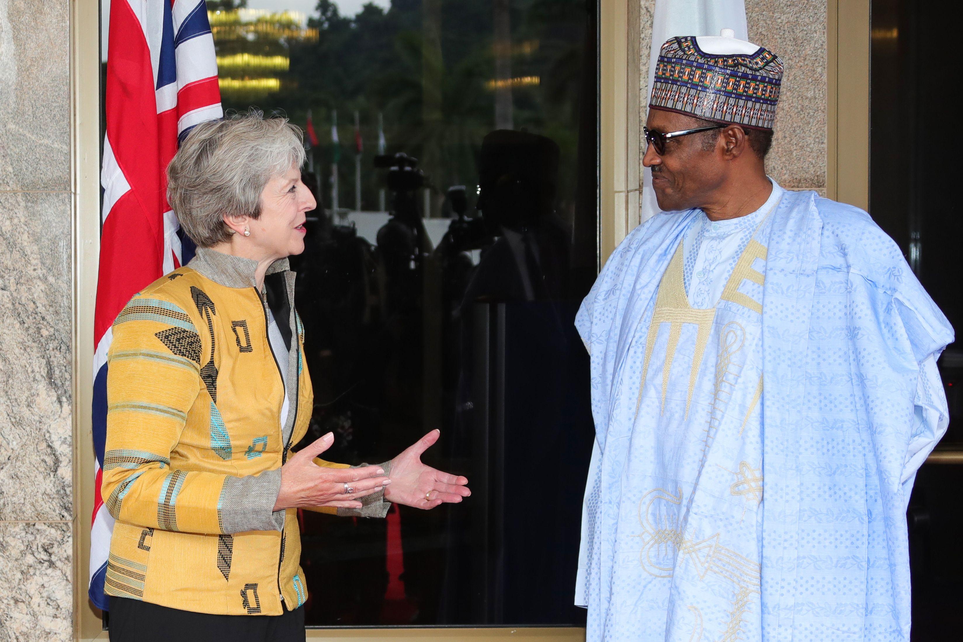 لقاء الرئيس النيجيرى بتريزا ماى