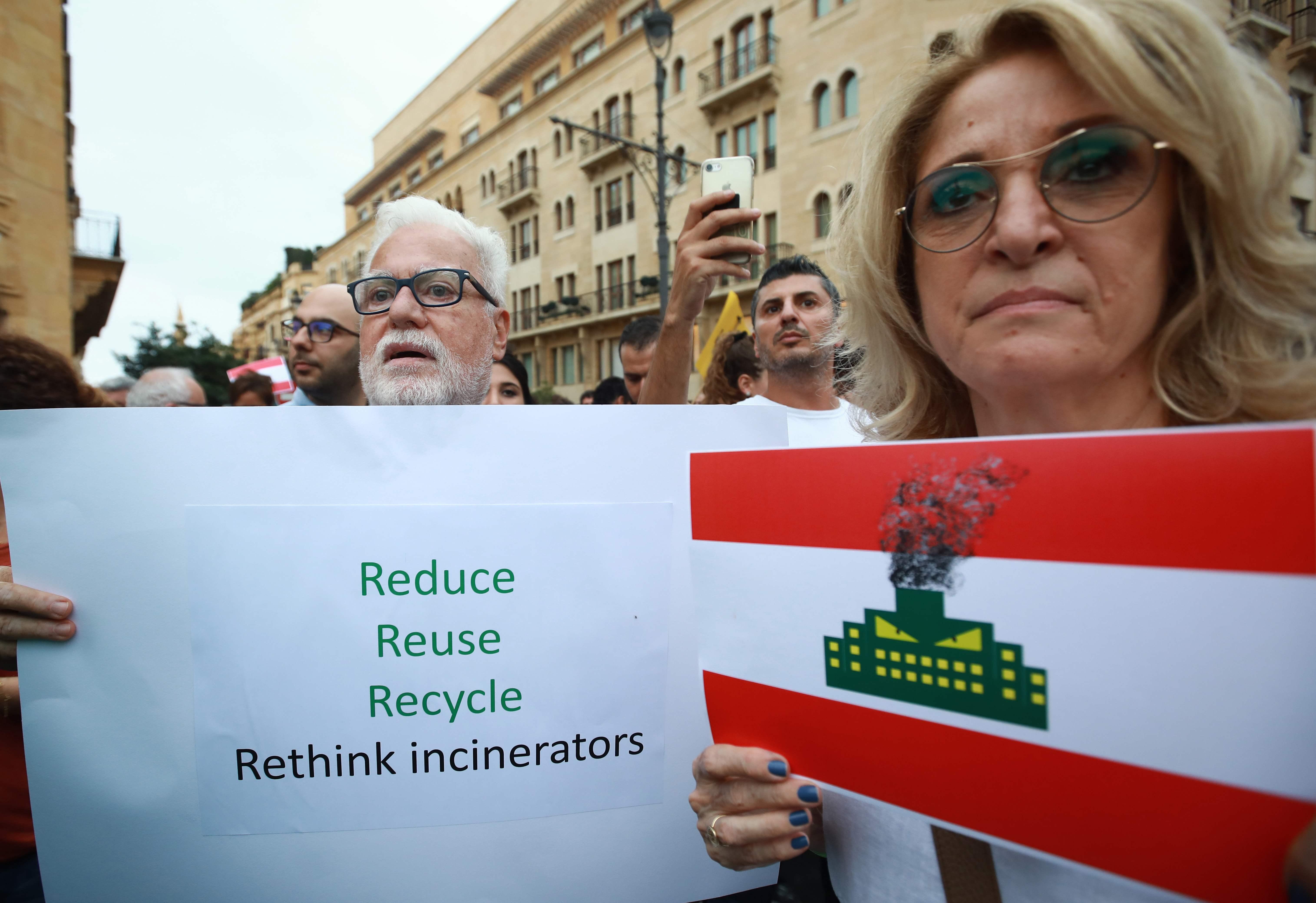 مظاهرة فى بيروت ضد محارق النفايات