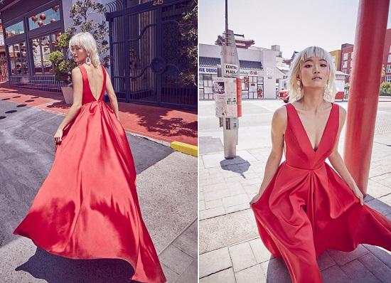 فستان زفاف من الحرير الأحمر من Floravere