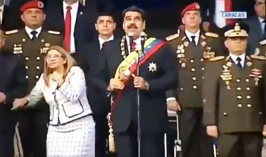لحظة الهجوم على نيكولاس مادورو