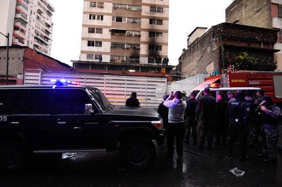 جانب من آثار الهجوم على الرئيس الفنزويلى