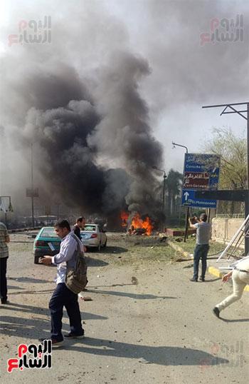 انفجار سيارتين فى مطلع كوبرى اكتوبر (13)