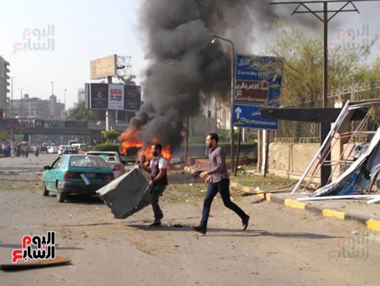 انفجار سيارة بكوبرى اكتوبر (1)